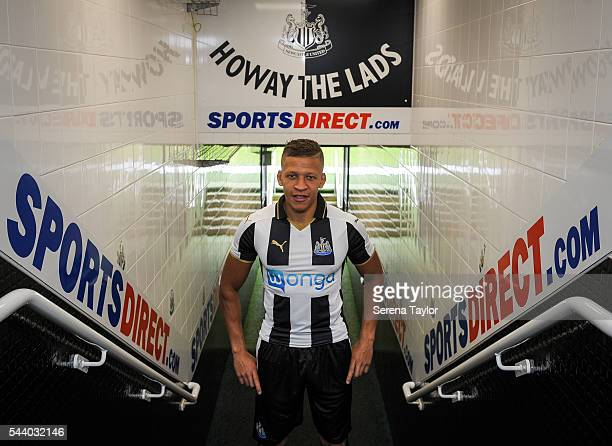 New signing Dwight Gale poses for a photograph in the tunnel wearing the New NUFC 2016/17 Kit at St.James' Park on June 30, 2016 in Newcastle upon...