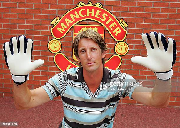 New signing Edwin van der Sar poses after a Manchester United Press Conference at Old Trafford on July 13 2005 in Manchester England