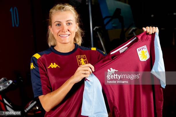 New signing Emma Follis of Aston Villa's women's team poses for a picture at the Aston Villa Bodymoor Heath training ground on August 02 2019 in...