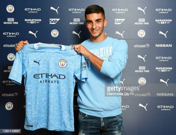 New signing Ferran Torrres is unveiled by Manchester City on August 04, 2020 in Barcelona, Spain.