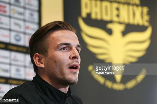 New signing Filip Kutro looks on during a Wellington Phoenix player announcement at Westpac Stadium on July 18 2018 in Wellington New Zealand