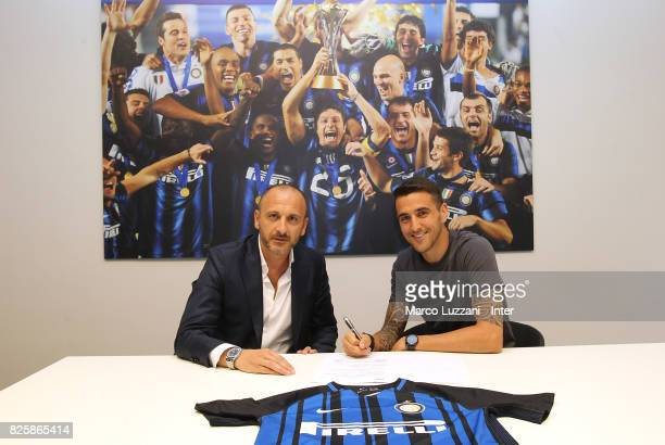 New signing for FC Internazionale Milano Matias Vecino signs his contract with Sportif Director of FC Internazionale Milano Piero Ausilio at FC...