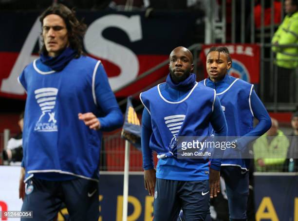 New signing for PSG Lassana Diarra warms up between Edinson Cavani and Christopher Nkunku during the French League Cup match between Stade Rennais...