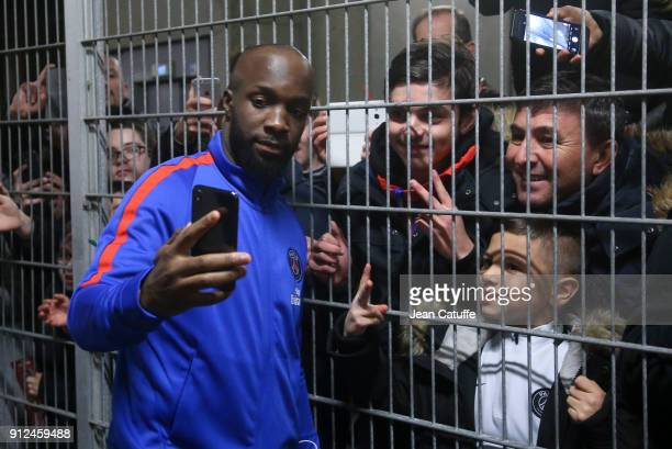 New signing for PSG Lassana Diarra with the supporters following the French League Cup match between Stade Rennais and Paris Saint Germain at Roazhon...
