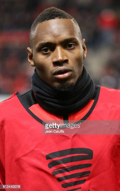 New signing for Stade Rennais Diafra Sakho warms up before the French League Cup match between Stade Rennais and Paris Saint Germain at Roazhon Park...