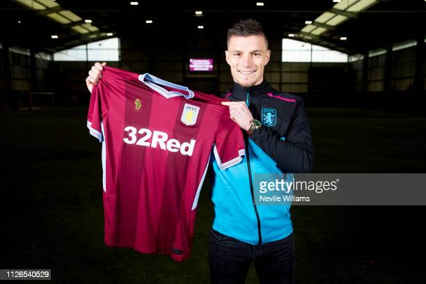 New signing Frederic Guilbert of Aston Villa poses for a picture at Bodymoor Heath training ground on January 31 2019 in Birmingham England