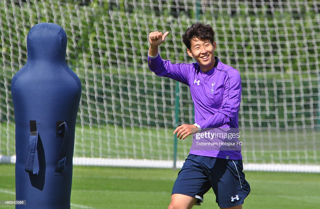 New signing Heung-Min Song during a training session at the Tottenham Hotspur Training Ground on August 28, 2015 in Enfield, England.