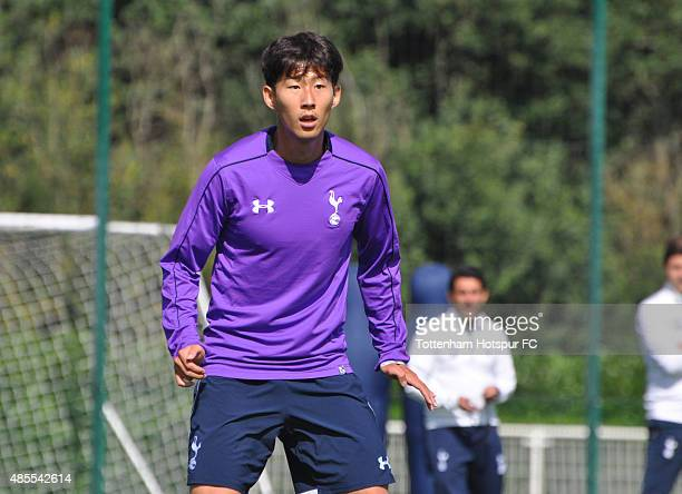 New signing HeungMin Song during a training session at the Tottenham Hotspur Training Ground on August 28 2015 in Enfield England