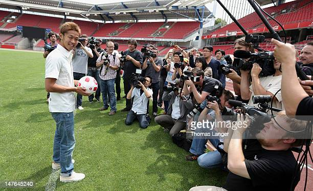 New signing Hiroshi Kiyotake poses for the media after 1 FC Nuernberg´s press conference at the Stadion Nuernberg on July 2 2012 in Nuremberg...