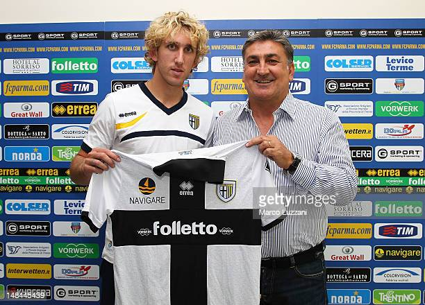 New signing Ignacio Fideleff and Antonello Preiti during an unveiling press conference during day three of the Parma FC pre-season training camp on...