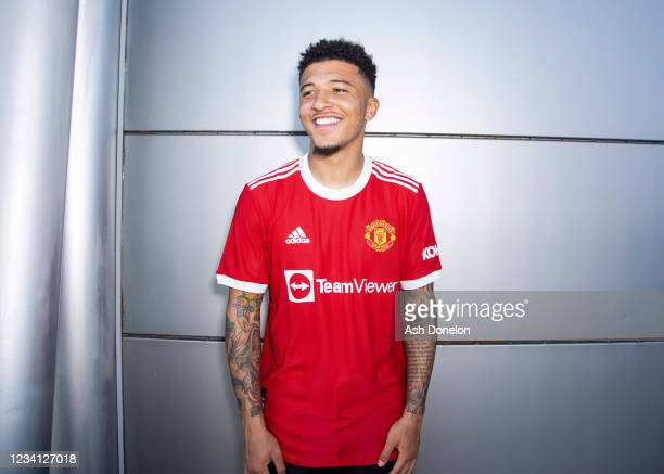 New signing Jadon Sancho of Manchester United is unveiled at Carrington Training Ground on July 23, 2021 in Manchester, England.
