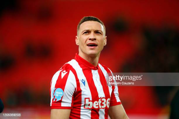 New signing James Chester of Stoke City looks on during the Sky Bet Championship match between Stoke City and Charlton Athletic at Bet365 Stadium on...