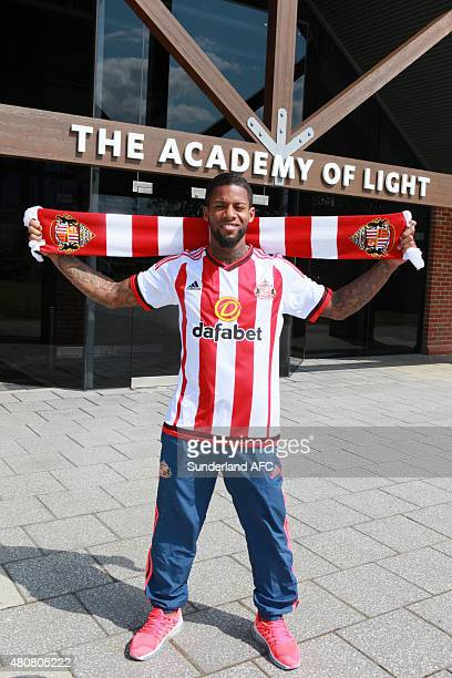 New signing Jeremain Lens of Sunderland poses outside of The Academy of Light on July 15 2015 in Sunderland England