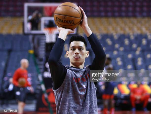 New signing Jeremy Lin of the Toronto Raptors shoots the ball prior to an NBA game against the Washington Wizards at Scotiabank Arena on February 13...