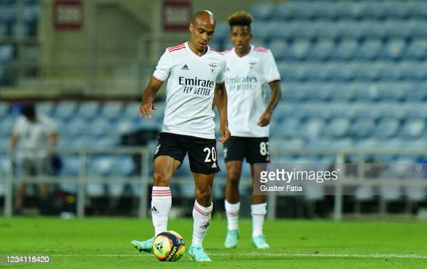 New signing Joao Mario of SL Benfica in action during the Pre-Season Friendly match between SL Benfica and Lille at Estadio Algarve on July 22, 2021...