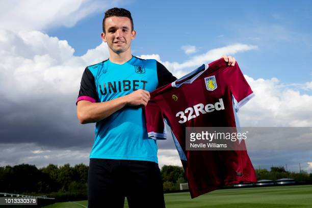 New signing John McGinn of Aston Villa poses for a picture at the club's training ground at Bodymoor Heath on August 08 2018 in Birmingham England