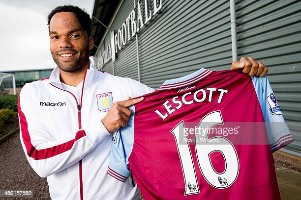 New signing Joleon Lescott of Aston Villa poses for a picture at the club's training ground at Bodymoor Heath on September 1 2015 in Birmingham...