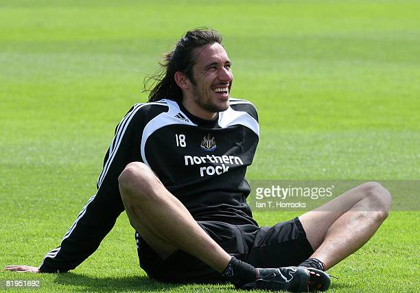 New signing Jonas Gutierrez during a Newcastle United training session at the Little Benton training complex on July 16 2008 in NewcastleUponTyne...