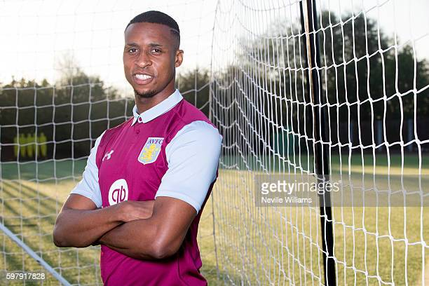 New signing Jonathan Kodjia of Aston Villa poses for a picture at the club's training ground at Bodymoor Heath on August 30 2016 in Birmingham England