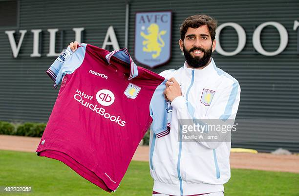 New signing Jose Angel Crespo of Aston Villa poses for a picture at the club's training ground at Bodymoor Heath on July 28 2015 in Birmingham England