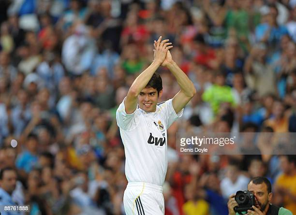 New signing Kaka waves to fans during his official presentation as a Real Madrid player at the Santiago Bernabeu Stadium on June 30 2009 in Madrid...