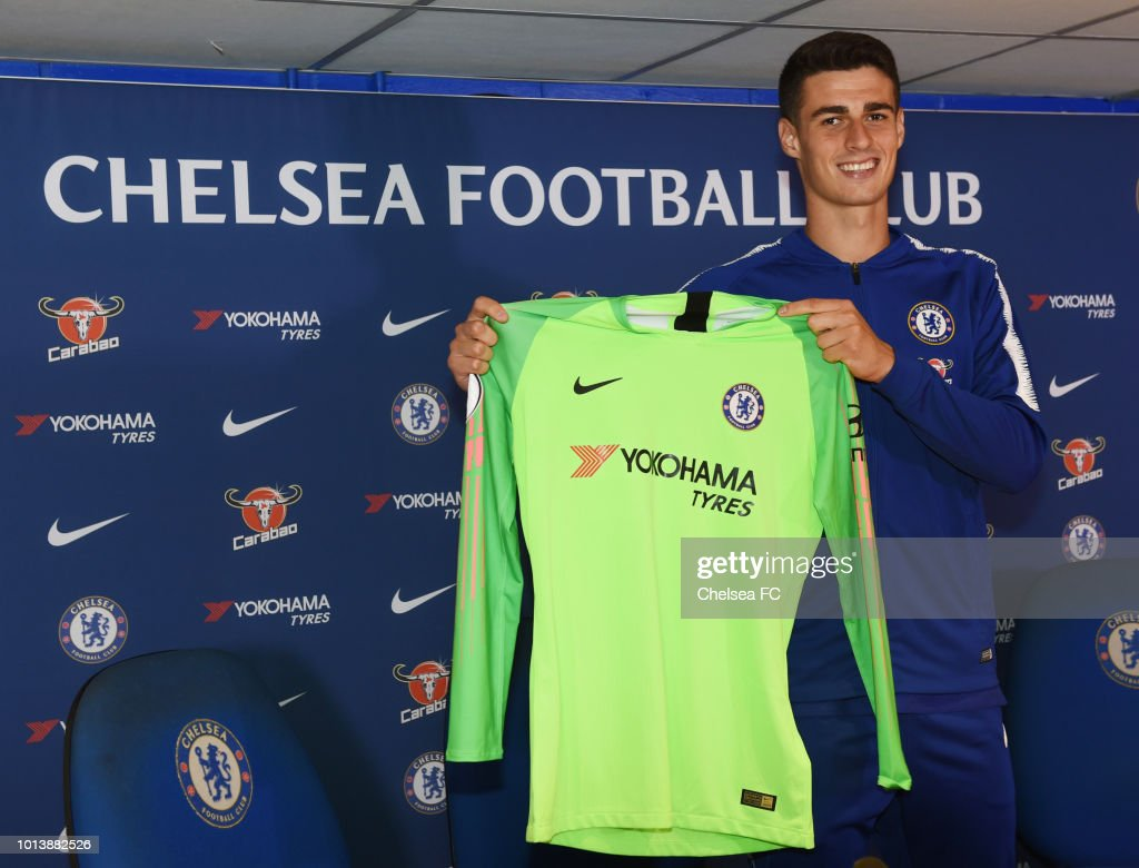 New signing Kepa Arrizabalaga of Chelsea is unveiled at a press conference at Stamford Bridge on August 9, 2018 in London, England.