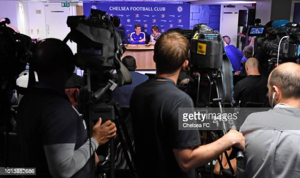New signing Kepa Arrizabalaga of Chelsea is unveiled at a press conference at Stamford Bridge on August 9 2018 in London England