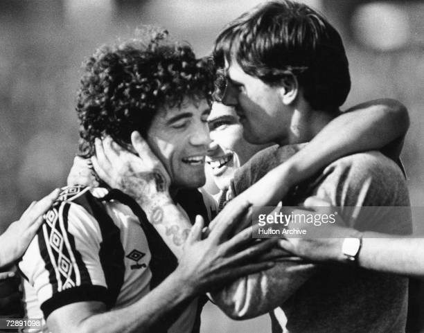 New signing Kevin Keegan is embraced by fans after scoring on his Newcastle debut in a 1-1 draw with QPR, 28th August 1982.