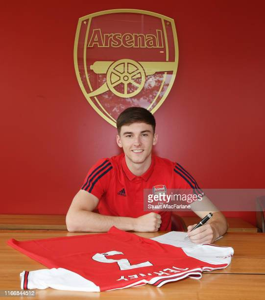 New signing Kieran Tierney signs his Arsenal contract at London Colney on August 08 2019 in St Albans England