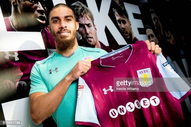 New signing Lewis Grabban of Aston Villa poses for a picture at the club's training ground at Bodymoor Heath on February 02 2018 in Birmingham England