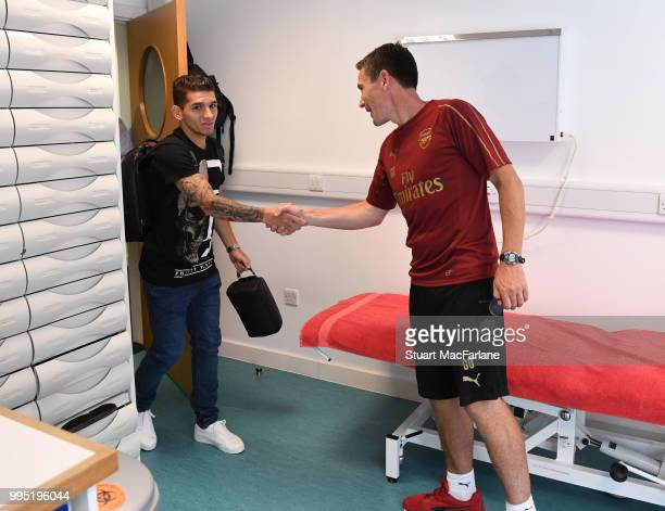 New signing Lucas Torreira meets Arsenal doctor Gary O'Driscoll at London Colney on July 10 2018 in St Albans England