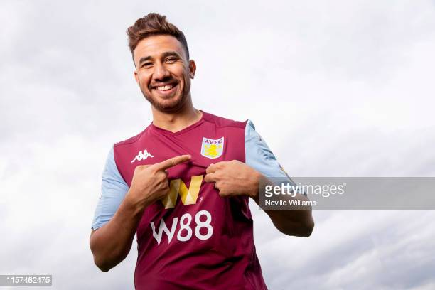 New signing Mahmoud Trezeguet of Aston Villa poses for a picture at the club's training ground at Bodymoor Heath on July 21 2019 in Birmingham England