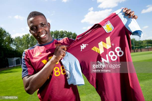 New signing Marvelous Nakamba of Aston Villa poses for a picture at the Aston Villa Bodymoor Heath training ground on August 01 2019 in Birmingham...