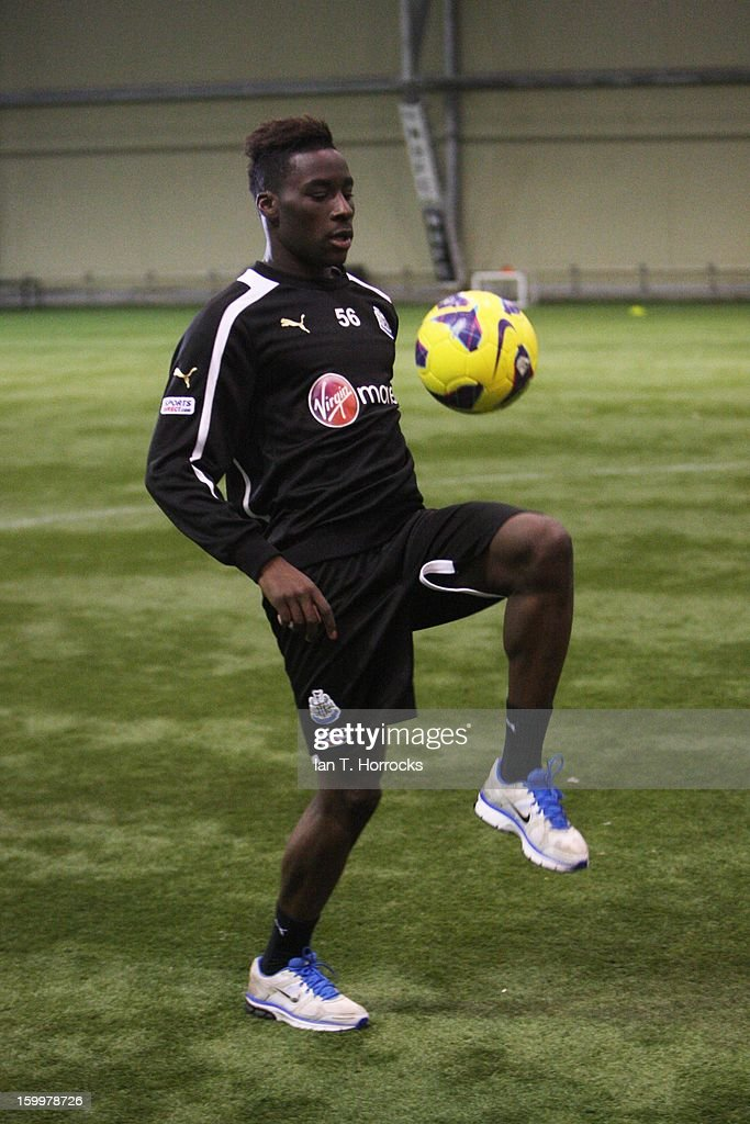 New signing Massadio Haidara of Newcastle practises with a ball after completing his transfer to Newcastle United on January 24, 2013 in Newcastle upon Tyne, England.
