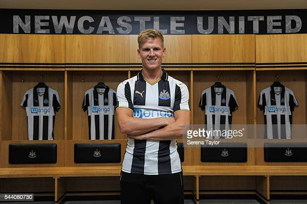 New signing Matt Ritchie poses for a photo in the home dressing room wearing the new NUFC 2015/16 shirt at StJames' Park on July 1 2016 in Newcastle...