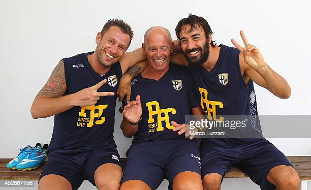 New signing Mattia Cassani Roberto Pelacci and Antonio Cassano before FC Parma Training Session at the club's training ground on July 25 2014 in...