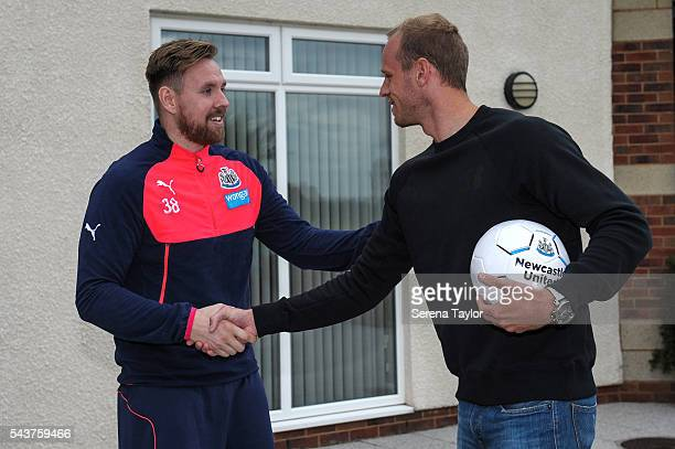 New signing Matz Sels meets Goalkeeper Rob Elliot at The Newcastle United Training Centre on June 28 2016 in Newcastle upon Tyne England