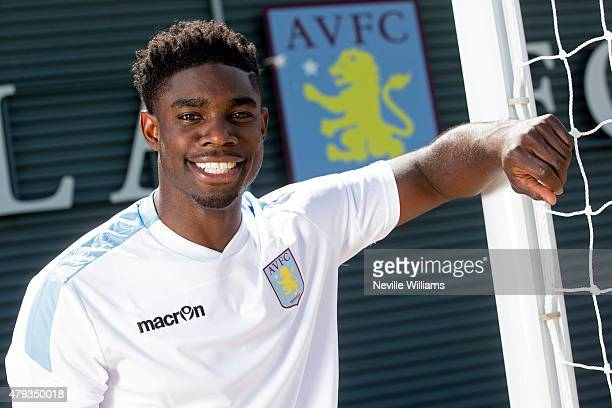 New signing Micah Richards of Aston Villa poses for a picture at the club's training ground at Bodymoor Heath on July 03 2015 in Birmingham England