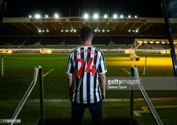 New signing Miguel Almiron poses for photos at StJames' Park on January 30 2019 in Newcastle upon Tyne England