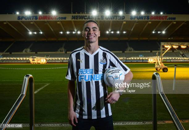 New signing Miguel Almiron poses for photos holding a ball at StJames' Park on January 30 2019 in Newcastle upon Tyne England