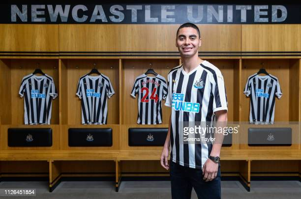 New signing Miguel Almiron poses for photos in the home dressing room at StJames' Park on January 30 2019 in Newcastle upon Tyne England