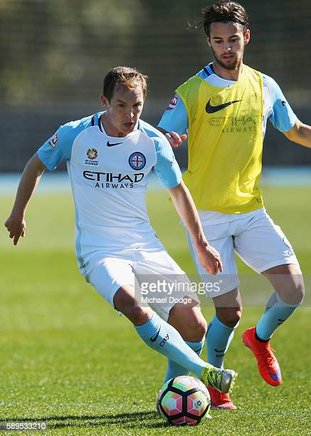 New signing Neil Kilkenny controls the ball during a Melbourne City ALeague press conference at La Trobe University Sports Fields on August 15 2016...