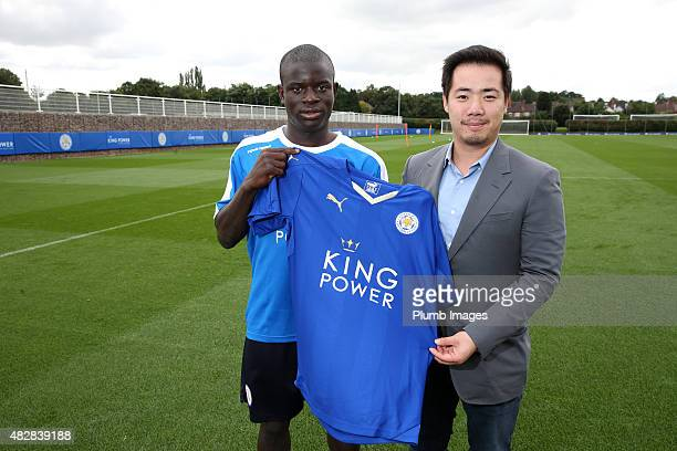 New signing N'Golo Kante of Leicester City is unveiled at Belvoir Drive Training Ground on August 3 pictured with vice chairman Aiyawatt...