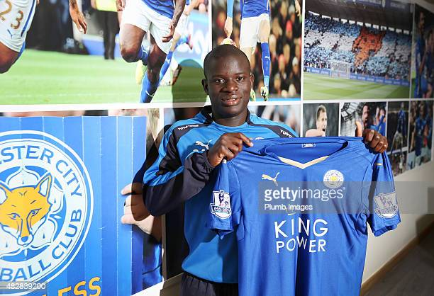 New signing N'Golo Kante of Leicester City is unveiled at Belvoir Drive Training Ground on August 3, 2015 in Leicester, England.