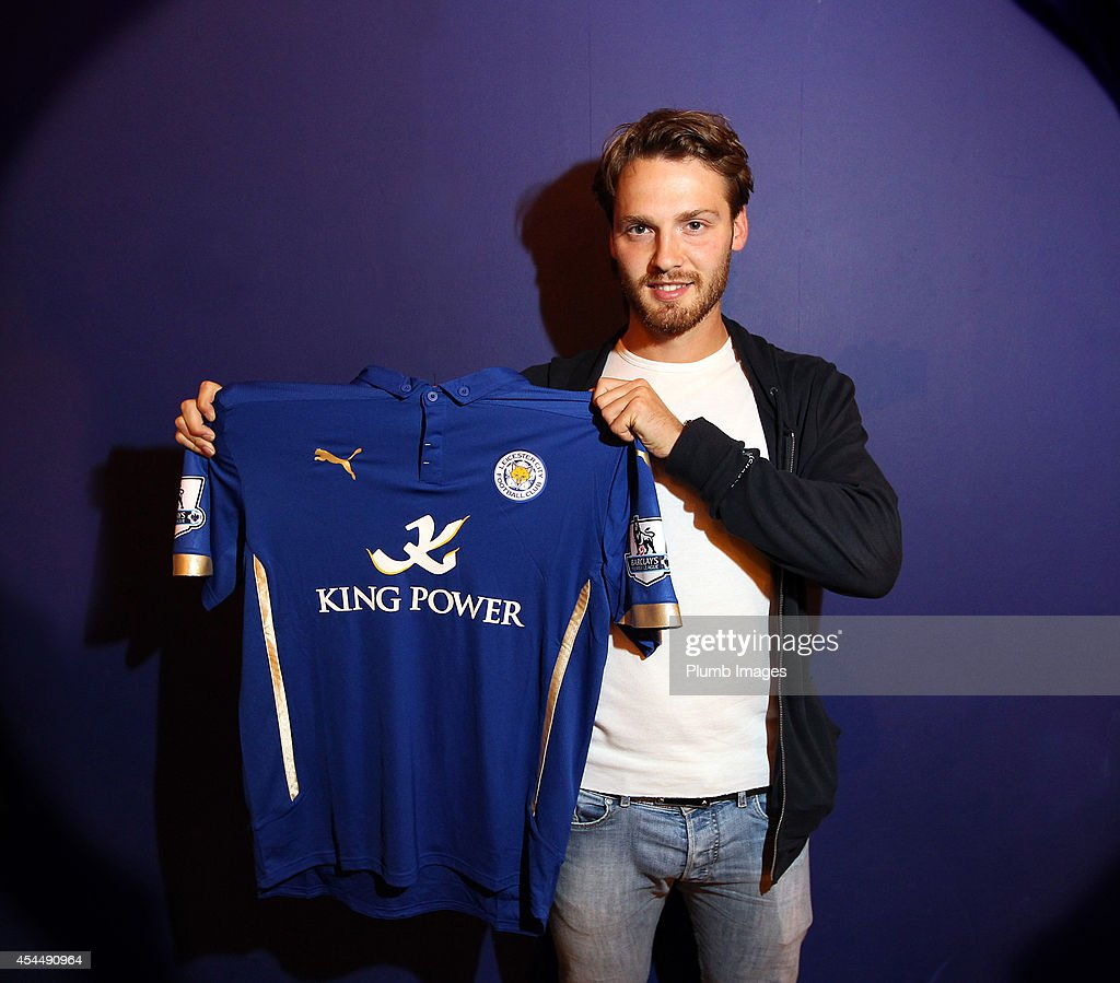 New signing Nick Powell of Leicester City FC poses with his shirt on a season long loan from Manchester United on September 1, 2014 in Leicester, England.