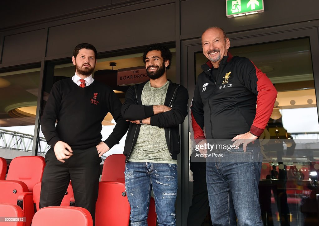 New Signing of Liverpool Mohamed Salah poses with Peter Moore CEO of Liverpool during a tour of his new home ground Anfield on June 23, 2017 in Liverpool, England.