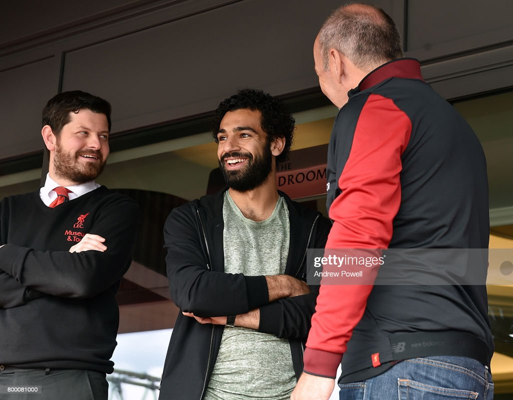 New Signing of Liverpool Mohamed Salah with Peter Moore CEO of Liverpool during a tour of his new home ground Anfield on June 23, 2017 in Liverpool, England.