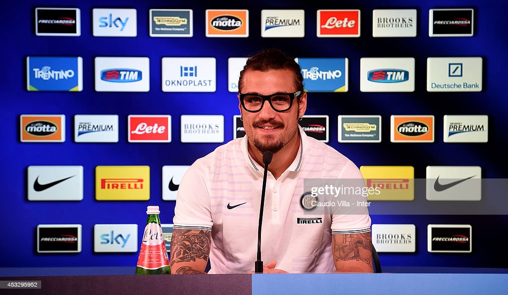 New signing Pablo Daniel Osvaldo speaks to the media during the press conference on August 7, 2014 in Como, Italy.