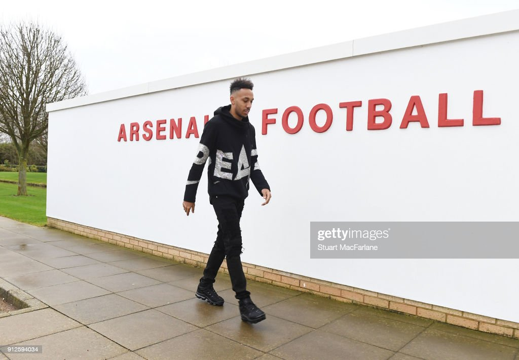 New signing Pierre-Emerick Aubameyang at the Arsenal training ground at London Colney on January 31, 2018 in St Albans, England.