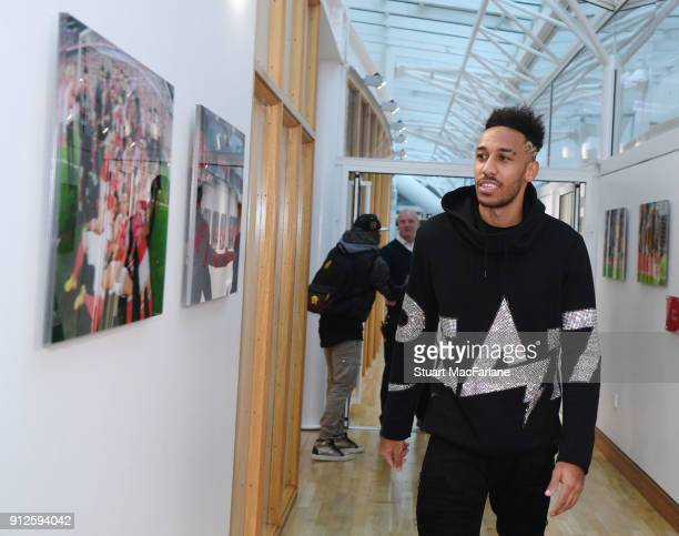 New signing PierreEmerick Aubameyang at the Arsenal training ground at London Colney on January 31 2018 in St Albans England